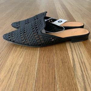 NWT Black Woven Mules
